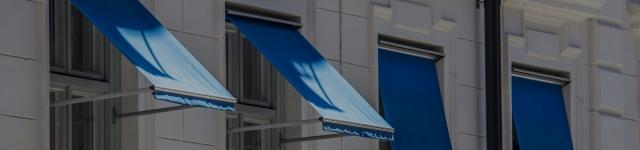 Blue awning , window